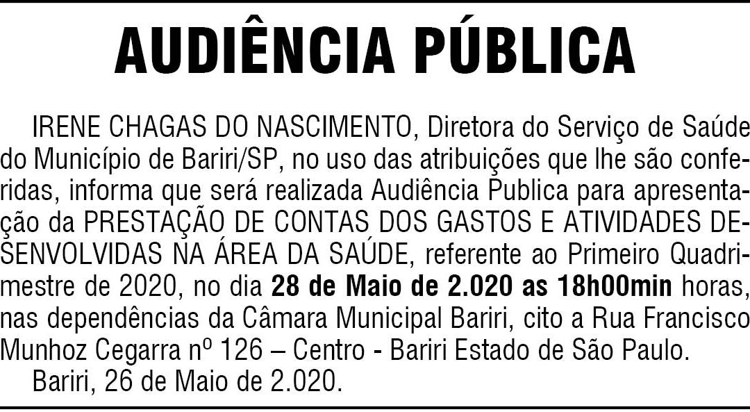 PREFEITURA DE BARIRI – EDITAL – AUDIÊNCIA PÚBLICA
