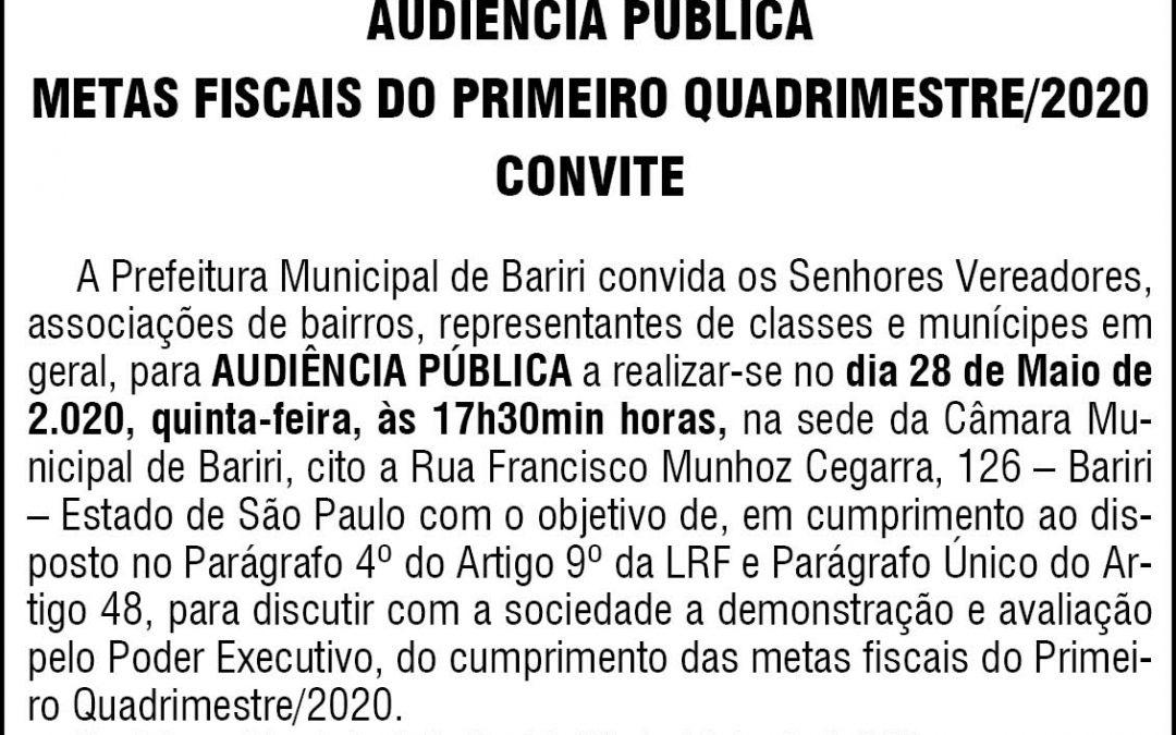 PREFEITURA MUNICIPAL DE BARIRI  – AUDIÊNCIA PÚBLICA