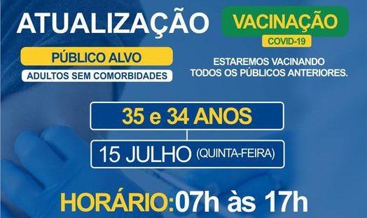 Covid-19: Bariri vacina pessoas com 34 e 35 anos