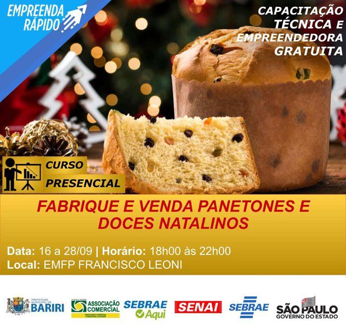 Bariri abre inscrições para curso de fabricação de panetones e doces natalinos